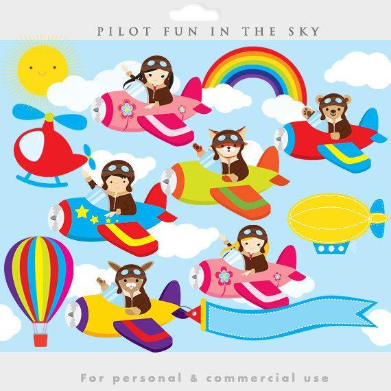Little pilots clipart - pilot clip art, airplane, airplanes, fox ...