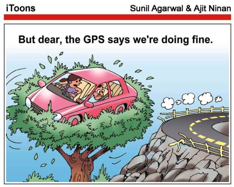 But dear, the GPS says we're doing fine  | Humor | Jokes images