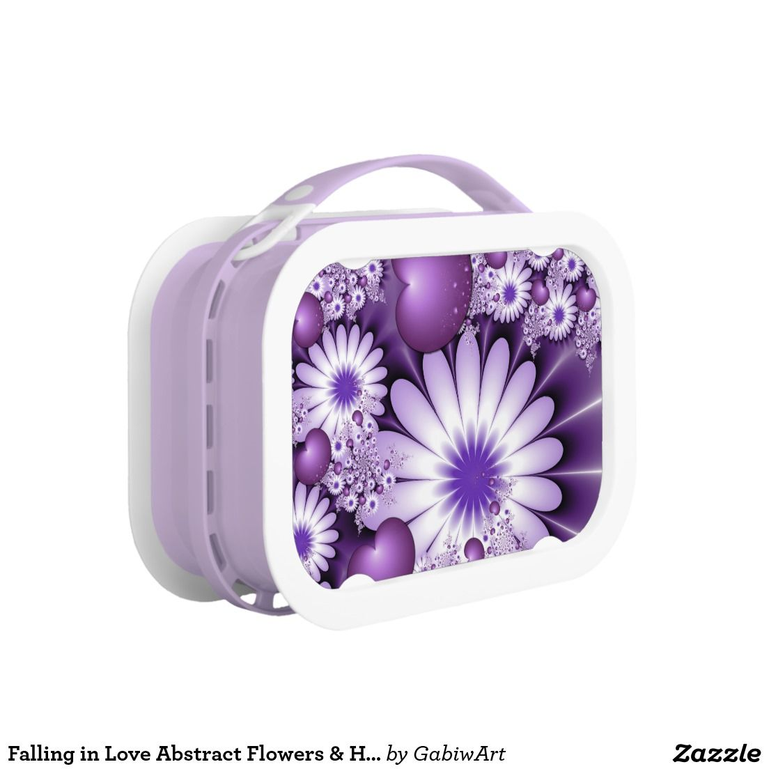 Falling in Love Abstract Flowers & Hearts Fractal Lunch Box