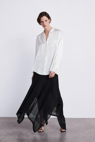 834de3e9 ZARA - Female - Satin shirt with pocket - Ecru - Xxl   Products in ...