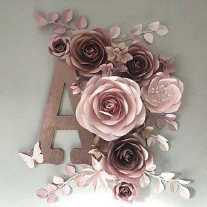 Paper Flowers Set - Girls Nursery Wall Decor - Nursery Paper Flowers - Paper Flowers Wall Decor - Large Paper Flowers #paperflowers