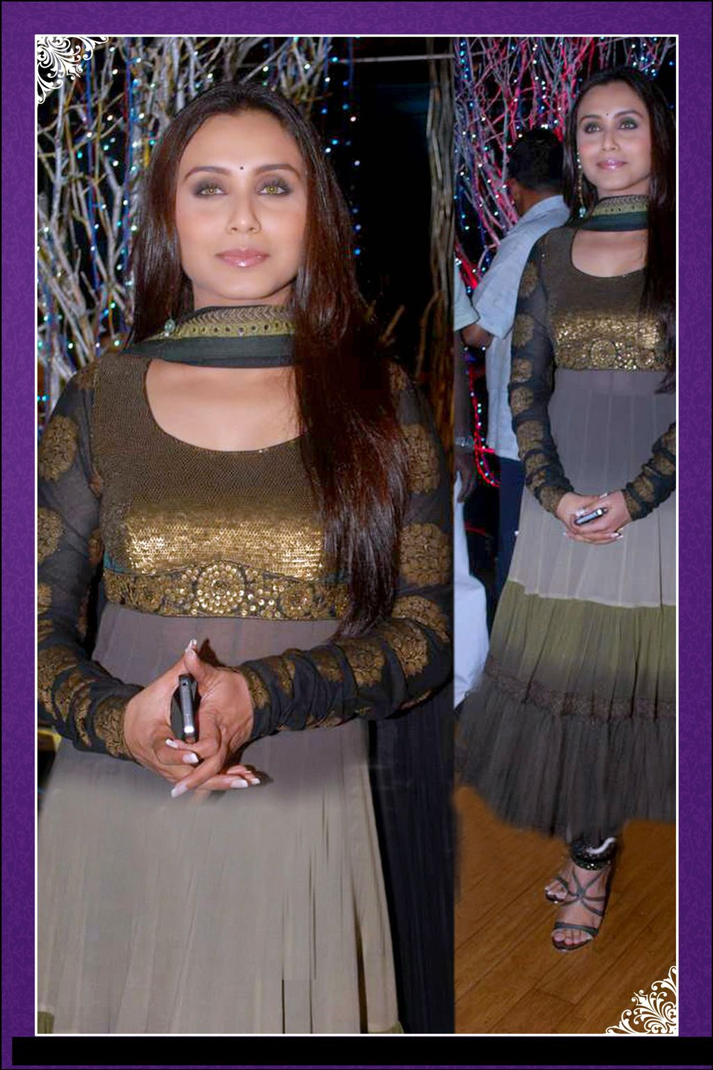 Rani mukerji brown and grey georgette long suit outfit ideas