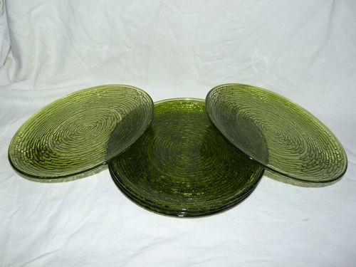 5 Vintage Avocado Green Anchor Hocking Soreno Dinner Plates