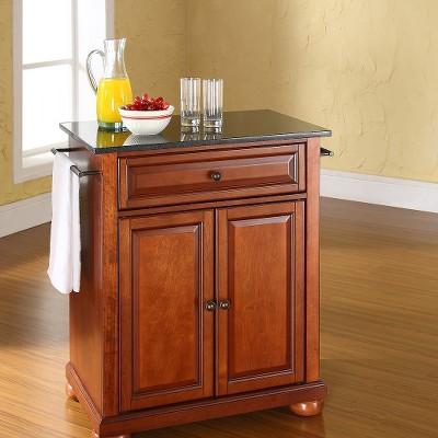 Alexandria Solid Black Granite Top Portable Kitchen Island Wood ...