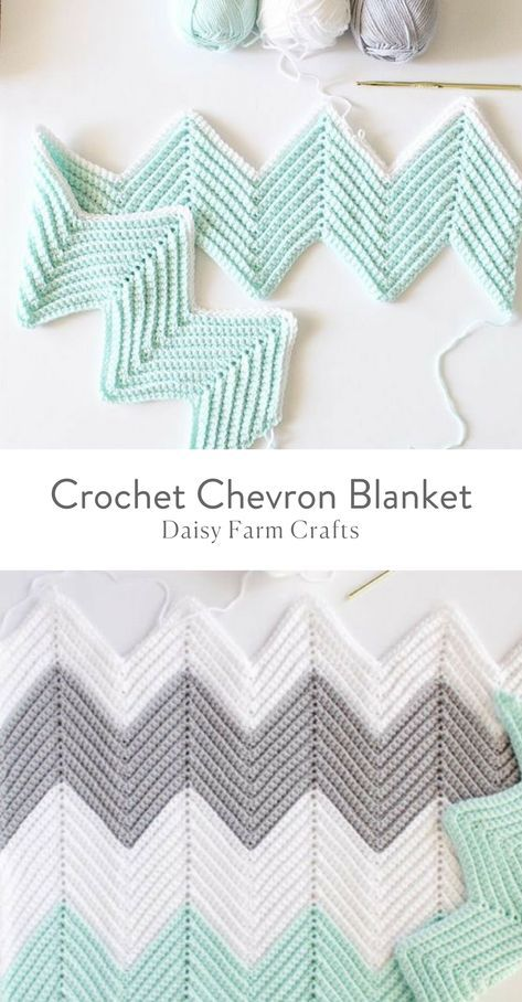Free Pattern - Crochet Chevron Blanket #afghanpatterns