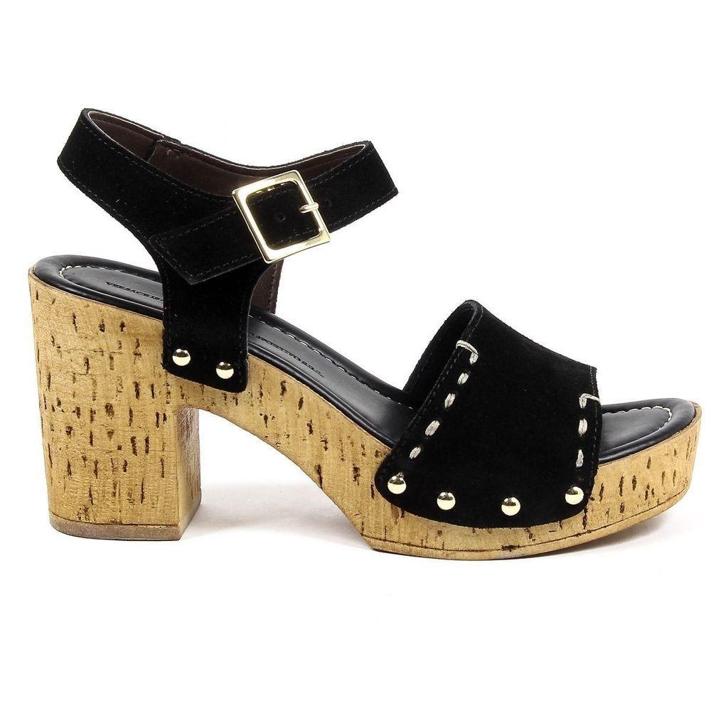 4b09a8dcc60 Versace 19.69 Italia Women s Ankle Strap Block Heel Platform Sandals BLACK   Versace1969  OpenToe  Party