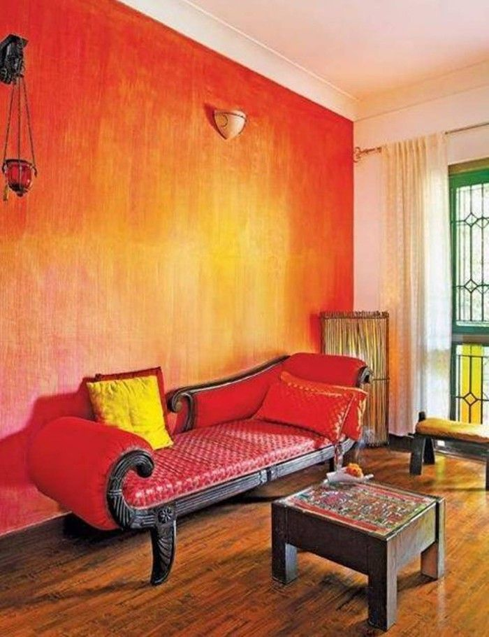 Living Room Orange Ombre Paint Walls Ideas With Images