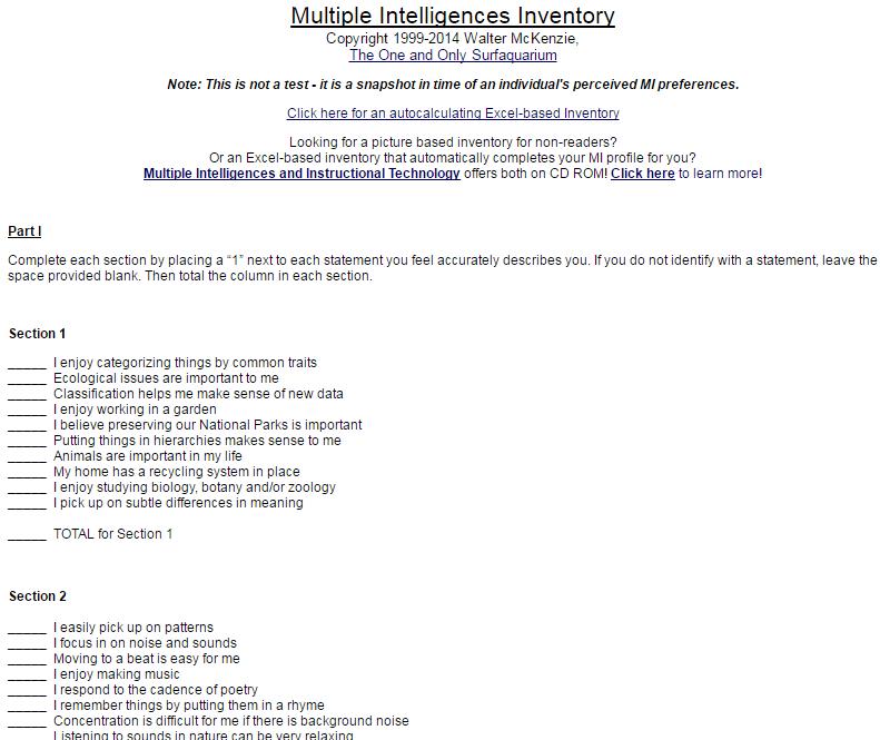 Multiple Intelligences Inventory Copyright 1999-2014 Walter