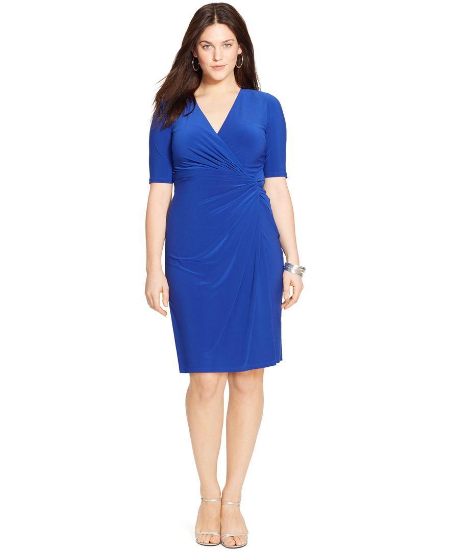 Lauren Ralph Lauren Plus Size Faux Wrap Dress Products Pinterest