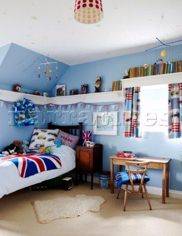 Light Blue Boys Room With Union Jack Bedspread And High Wall