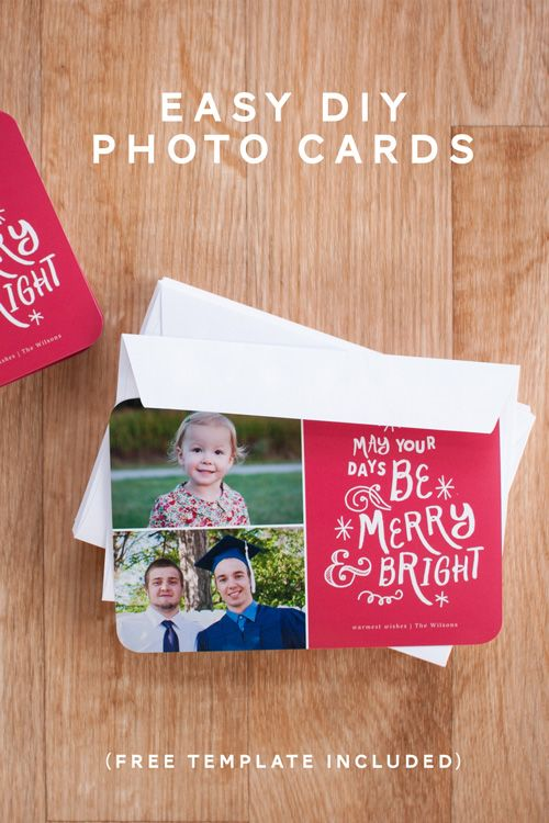Easy diy photo cards photo cards easy and holiday photo cards easy diy christmas photo cards from simple scrapper includes a free template solutioingenieria Images