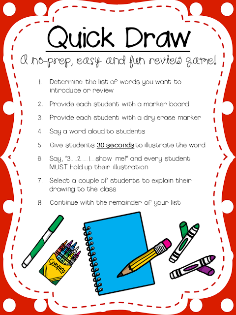 Quick drawa great way to review OR introduce vocabulary