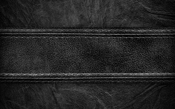 Scarica sfondi in pelle nera 4k texture in pelle cucitura nero
