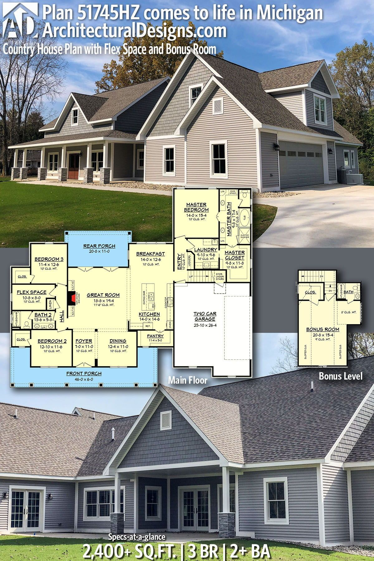 plan 51745hz country house plan with flex space and bonus room in rh pinterest com