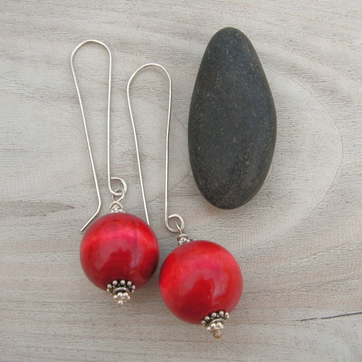 Red Wood Earrings - Into the Woods - Drops on Long Handmade Sterling Silver Ear Wires. $28.00, via Etsy.  I like these long ear wires.