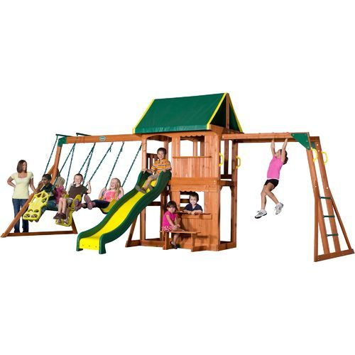 Backyard Discovery Prairie Ridge Wooden Swing Set Brown Brown