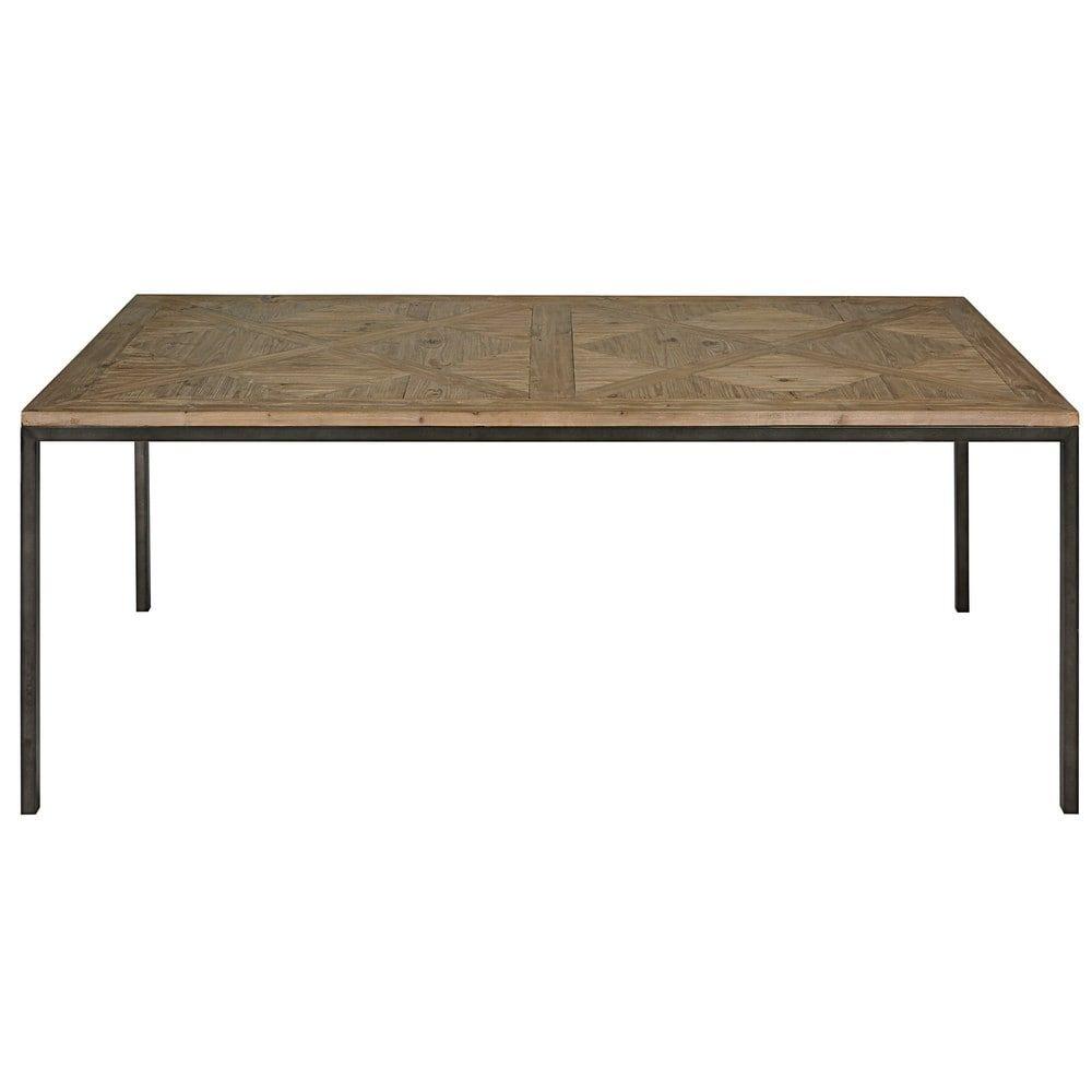 Tisch aus recyceltem Kiefer und schwarzem Metall L.200cm | Fine ...
