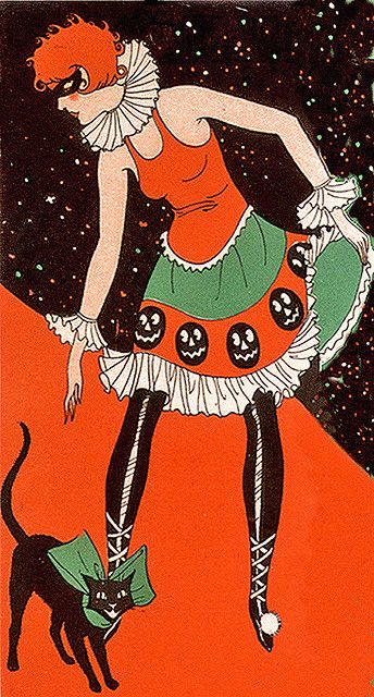 Deco Flapper and her Bow Tied Black Cat--Vintage Halloween Bridge Tally