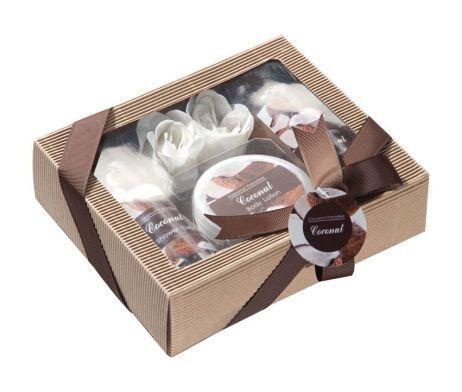 luxusná súprava do kúpeľa s nádhernou vôňou kokosu. Táto krásna súprava do kúpeľa obsahuje telové mlieko, penu do kúpeľa, sprchový gél a dve kúpeľné kvetiny pre relaxáciu. V krásnej darčekovej krabici so stuhou je ideálnym darčekom. Darčeková súprava do kúpeľa poteší každého! Výhodné balenie vhodné pre vás, ale aj ako darček pre vašich blízkych.