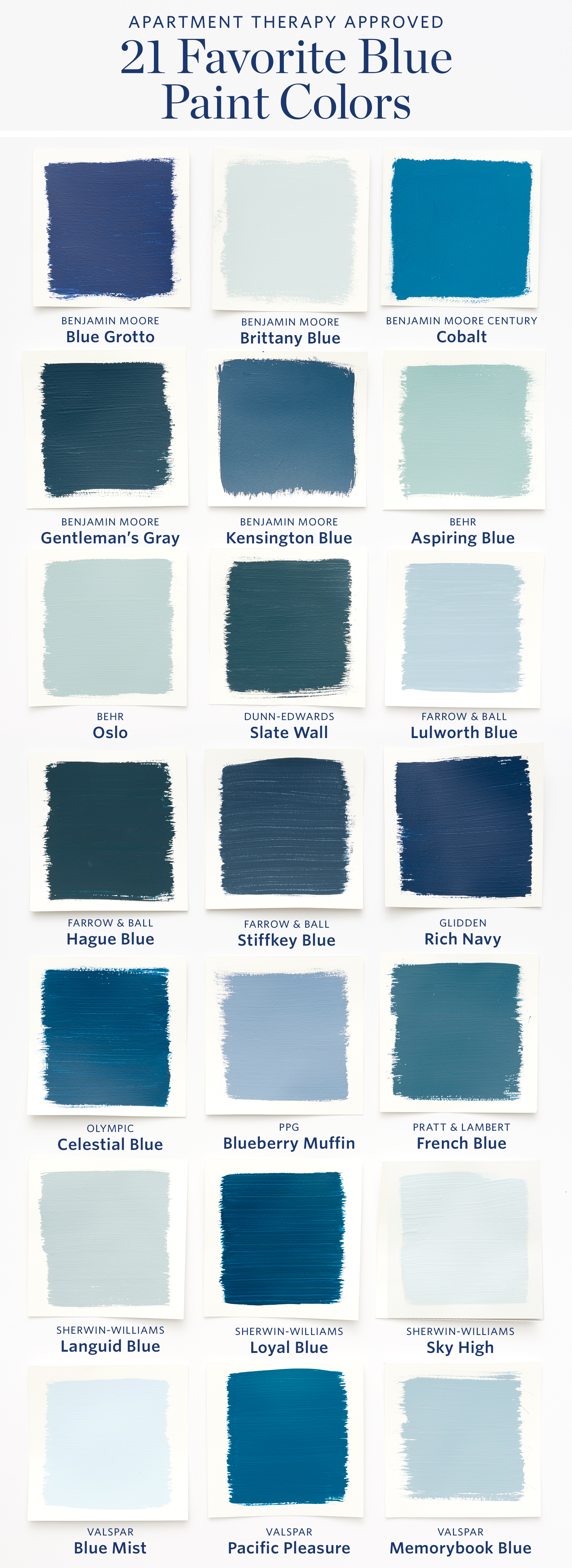 Color cheat sheet the 21 most perfect blue paint colors for Blue house paint colors