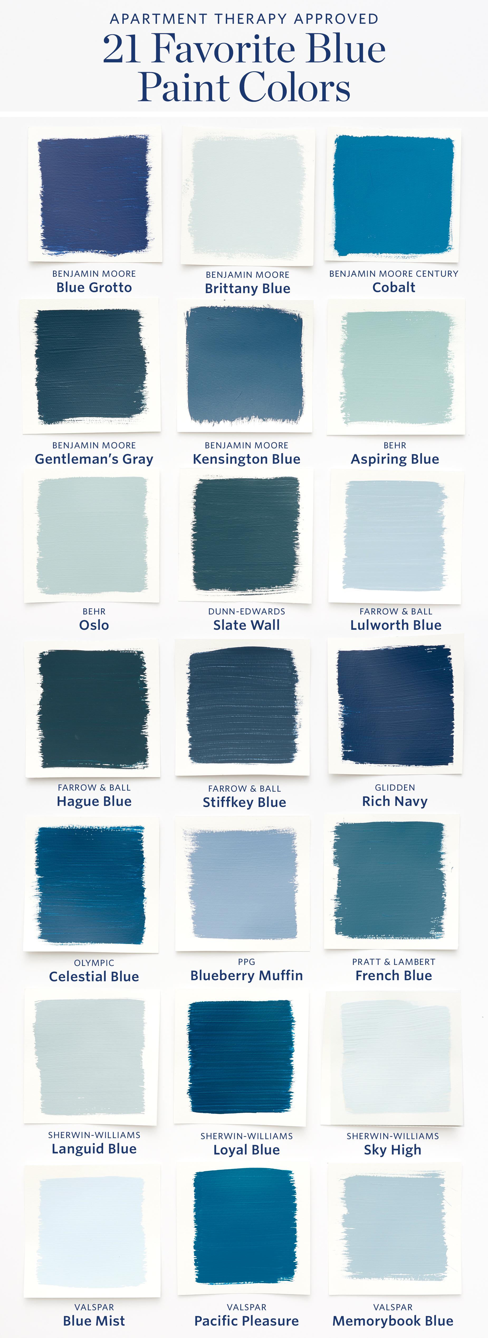 Color Cheat Sheet The 21 Most Perfect Blue Paint Colors For Your Home Raznocvetnye Doma Cveta Kraski Dlya Spalni Cvetovye Shemy