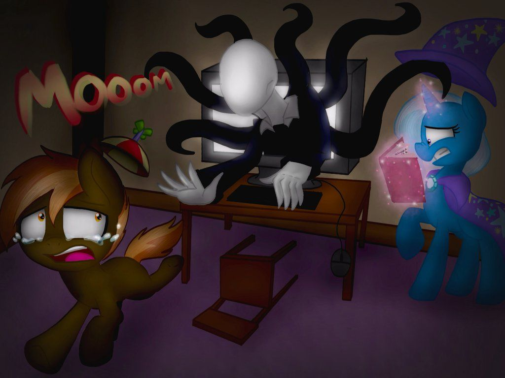 44dc9364a9f Button mash and trixie gave life to Slenderman by NicoleTheBluePony on  DeviantArt