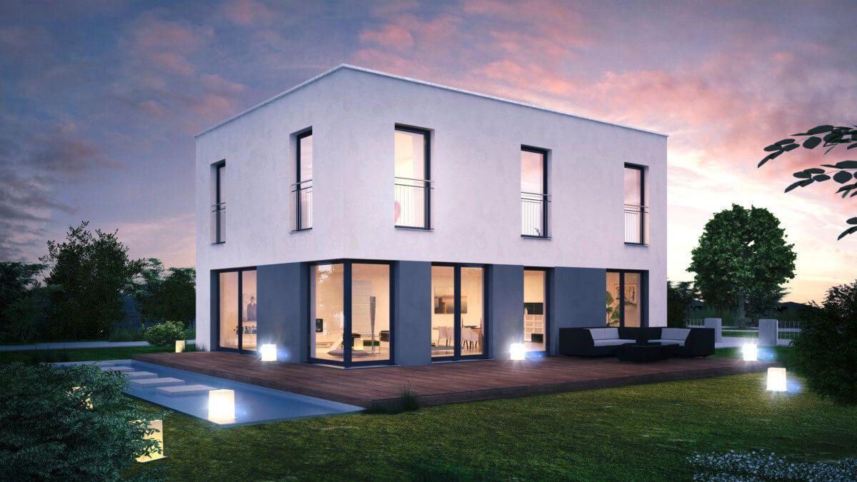 Haus ICON 3 Plus Cube mit Flachdach - Dennert Massivhaus - http ...