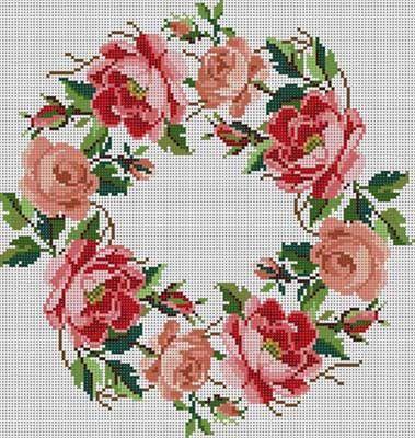 Rose Wreath Susan Treglown mesh: 13:1 dimension: 10.5 x 11