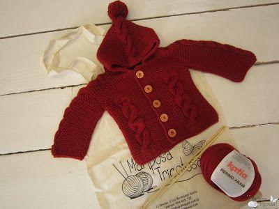 kit de punto: chaqueta con capucha y trenzas para bebé