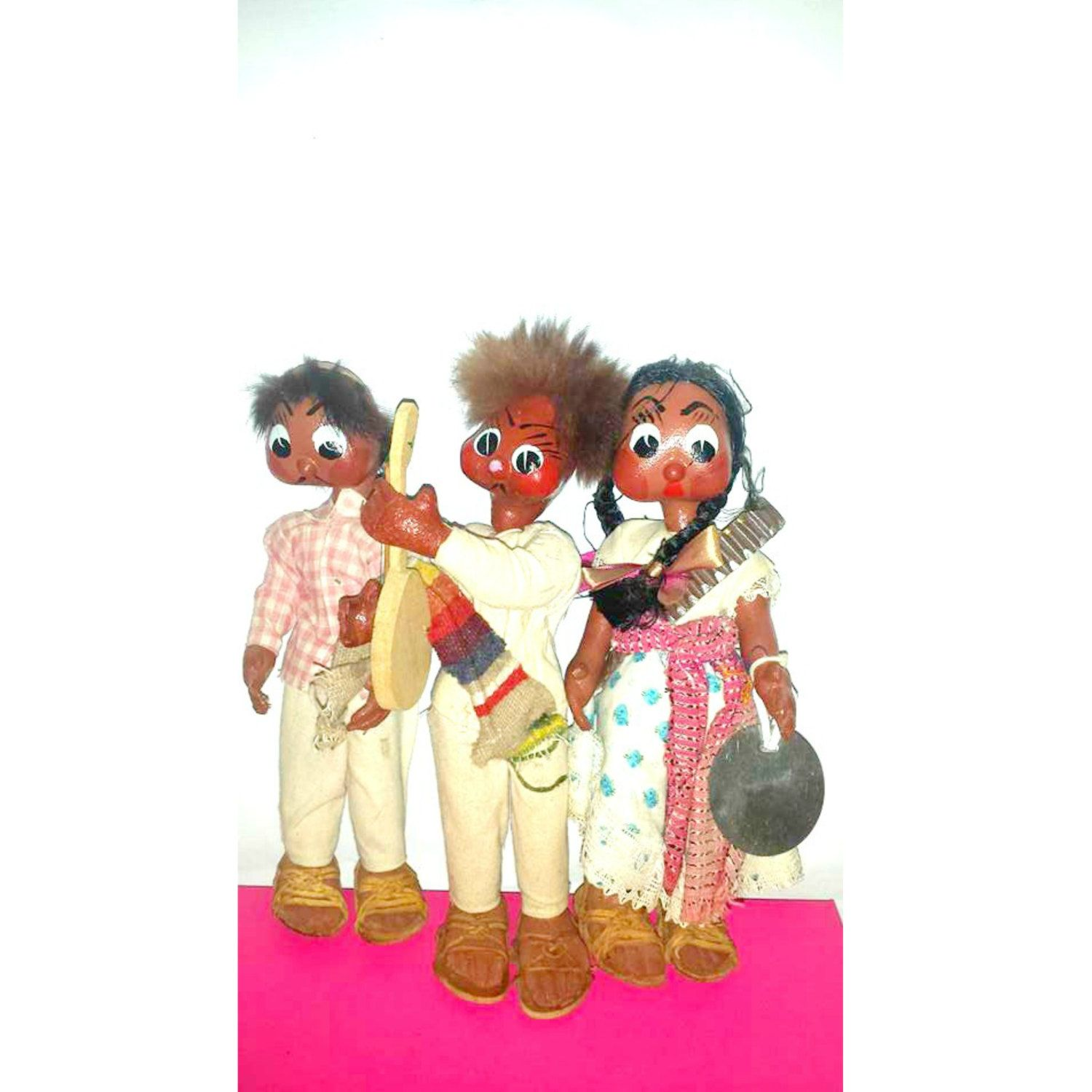 Vintage Mexico Oil Cloth Dolls,Set of 3,Mexican Family Dolls,Spanish Doll,Guitar Player,Dolls in Sandals,Paper Mache Dolls,Circa 1930s by JunkYardBlonde on Etsy #spanishdolls