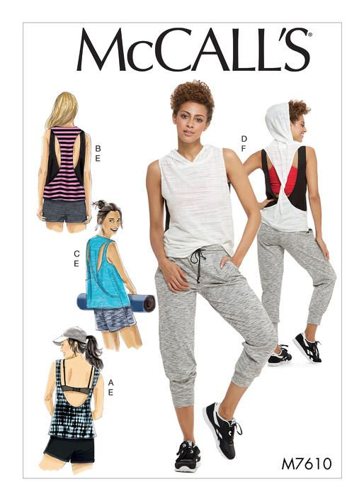 Mccalls Activewear Sewing Pattern M7610 Misses Pullover Tops With