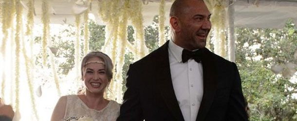 """Dave """"Batista"""" Bautista is once again a married man. He posted the following photo today of himself and his bride at their wedding: @DaveBautista and @SarahJadePole Bautista ❤️ pic.twitter.com/c5CgyUmI9q— Dave Bautista (@DaveBautista) October 7, 2015 This is Bautista's third marriage."""