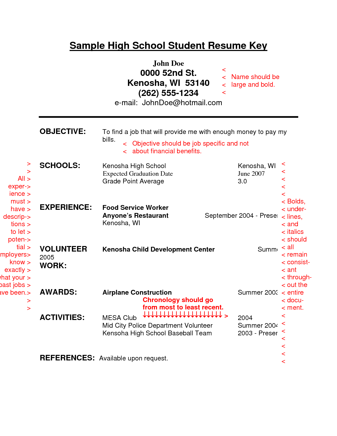 Resume example for high school student