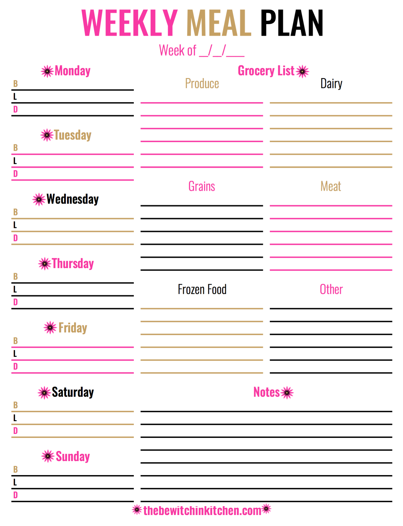 Weekly Meal Plan Download | Meals for the week, Meal ...