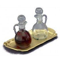Glass cruet set. Includes brass tray