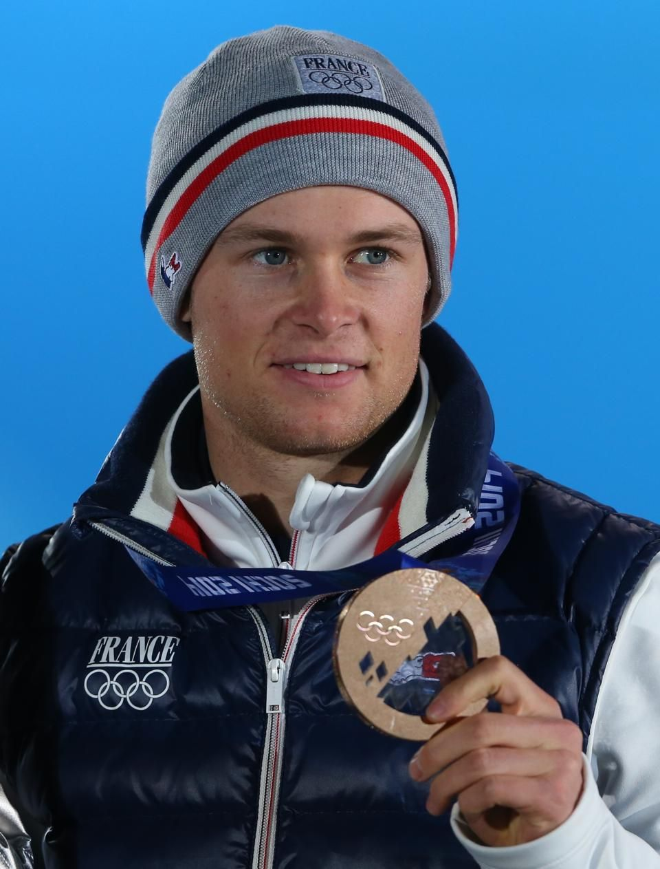 Alexis Pinturault of France, Bronze medalist at the Alpine Skiing Men's Giant Slalom, at the Winter Olympic Games 2014 in Sochi.