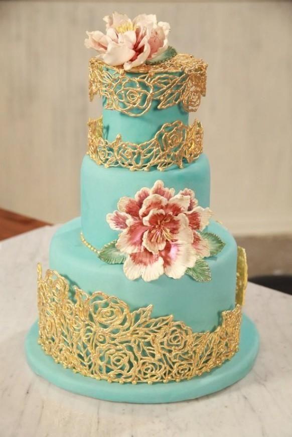 Turquoise and gold fondant wedding cake best wedding for Turquoise gold wedding theme