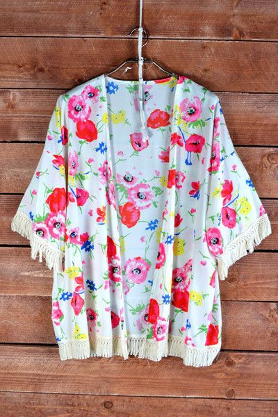 SUMMER Women's Floral Fringe Kimono Cardigan Poppy New- S M L