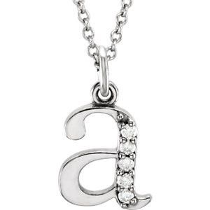 "14kt White .03 CTW Diamond Lowercase Letter ""a"" Initial 16"" Necklace"