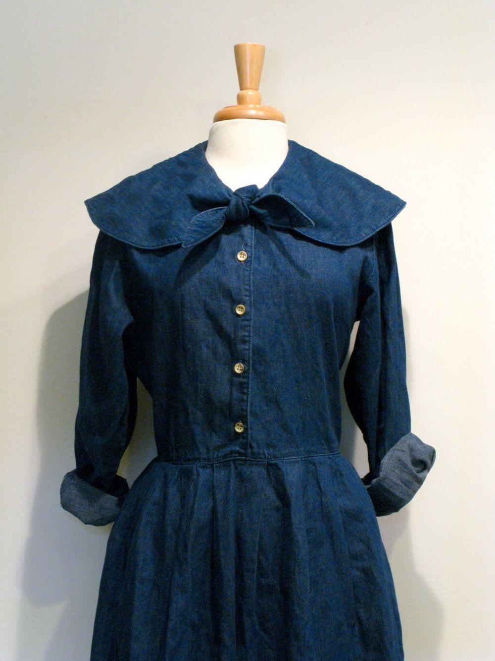 Denim Shirtwaist Dress with Sailor Collar.