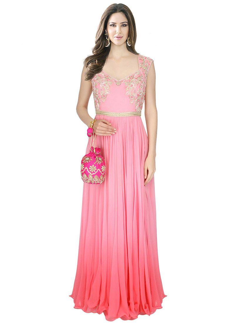 Beauty Pink Crepe Silk Designer Gown - Luxefashion Internet Inc ...