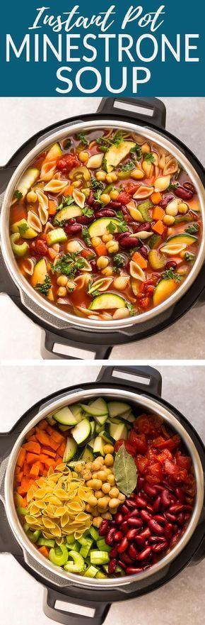 Instant Pot Homemade Minestrone Soup makes the perfect easy comforting meal. #dinnerideas2019