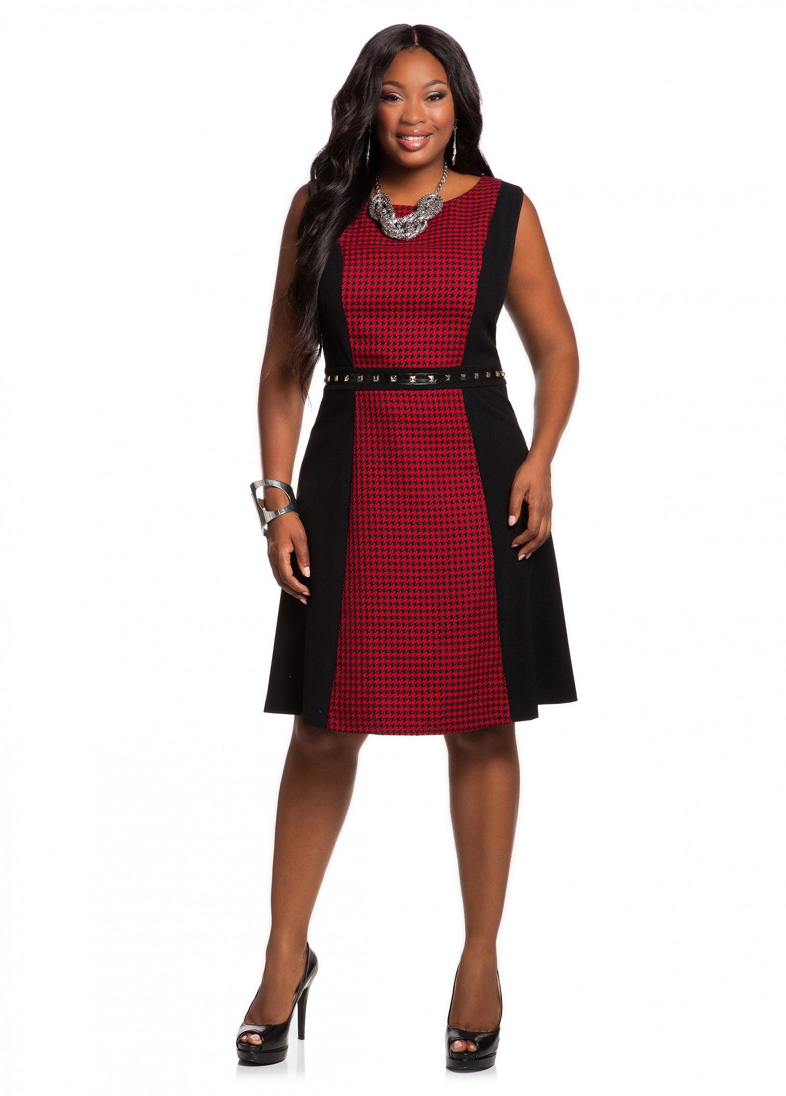 a6763faea39 Ashley Stewart  Houndstooth Center Flippy Dress