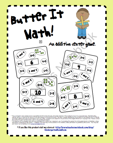 Butter it Math! - Common Core - This is an addition game for numbers 0-10 that can be placed in a center or used as homework or morning work. $1.00