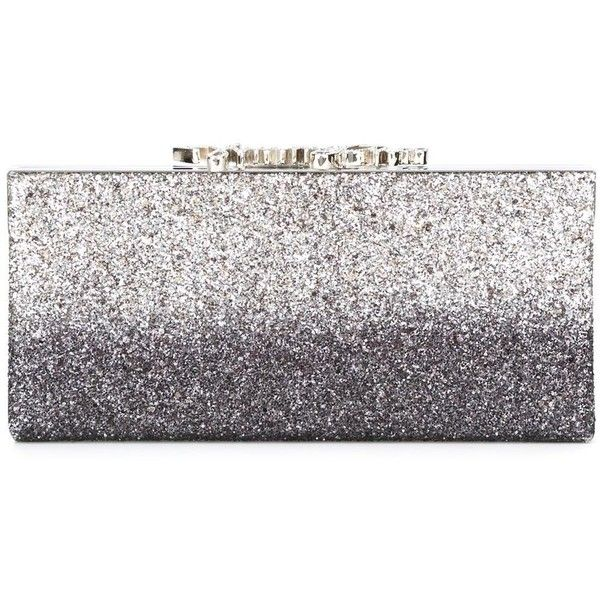 Jimmy Choo Celeste clutch ($1,100) ❤ liked on Polyvore featuring bags, handbags, clutches, grey, grey handbags, over the shoulder handbags, over the shoulder purse, gray purse and sparkly purses