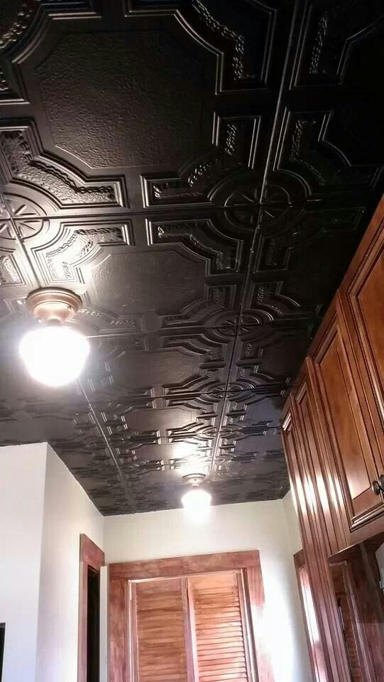 Finished Ceiling Faux Punch Tin Tiles Step 1 Spray Or Brush Paint