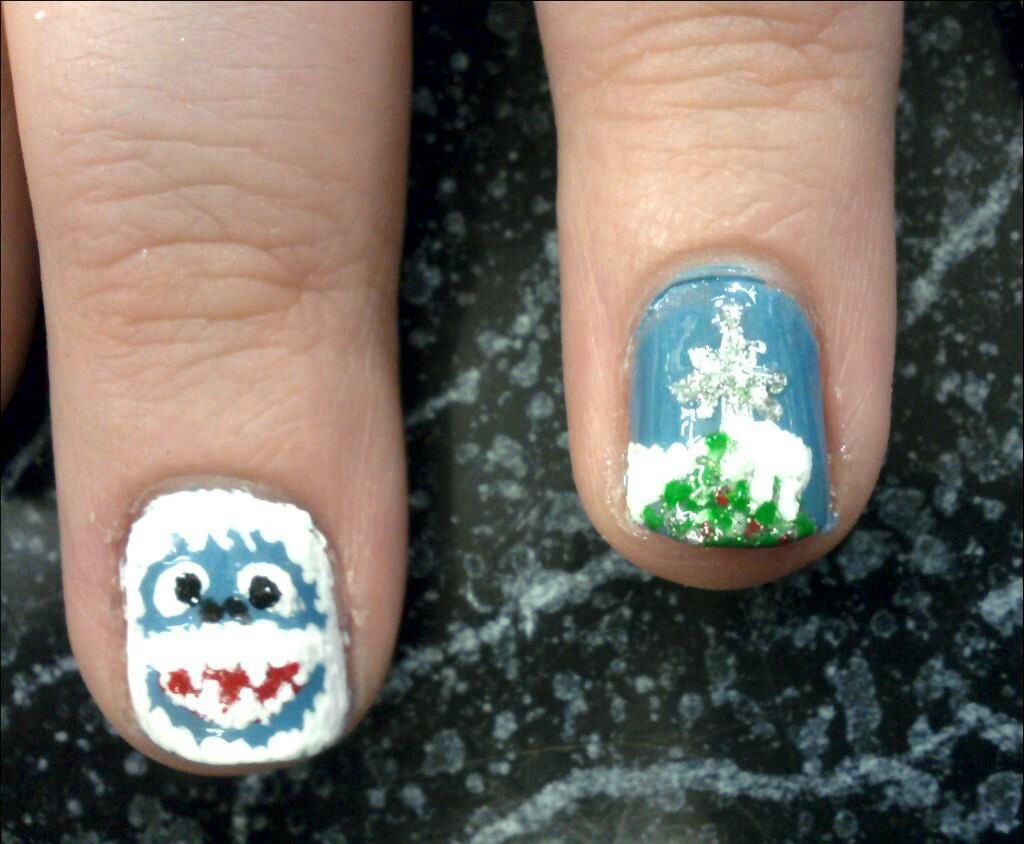 Christmas Nails Nail Art Abominable Snowman