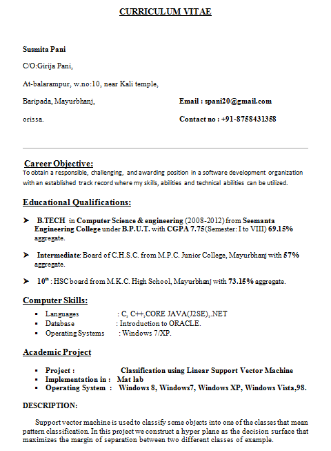 Computer Science Student Resume Sample Resume Template