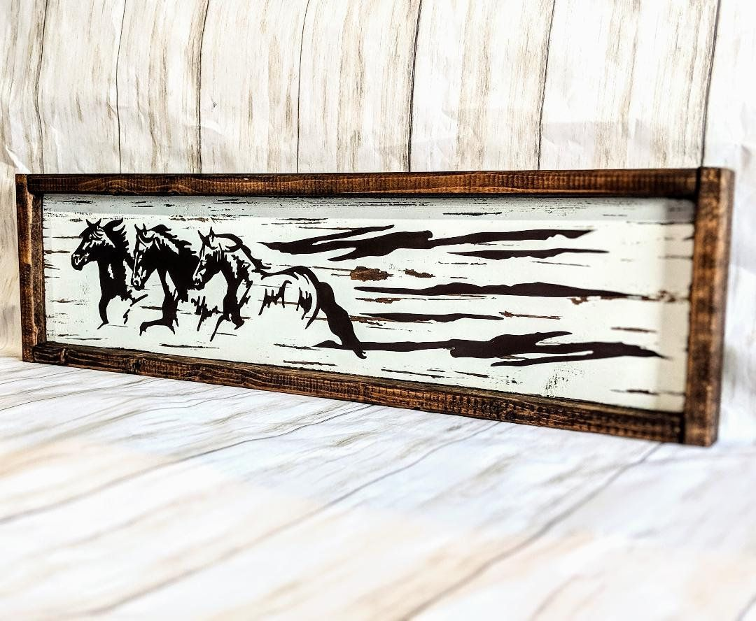 24 Rustic Wood Horse Sign Western Equine Decor Distressed Wood Wall Art Horse Gift Running Horse Distressed Wood Wall Art Distressed Wood Wall Barn Art