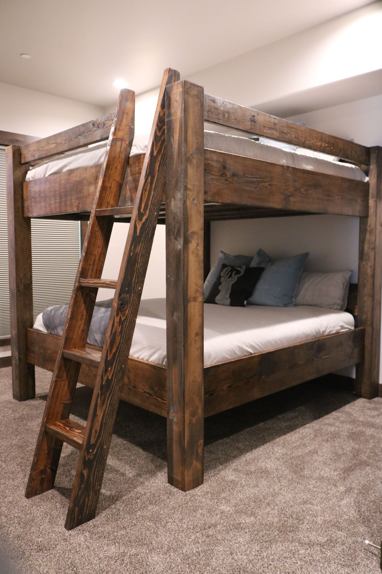Loft bed twin over queen  Beach house bunk bed custom built for adults and kids by